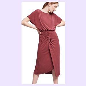 Anthropologie Moulinette Soeurs Red Ruched Dress